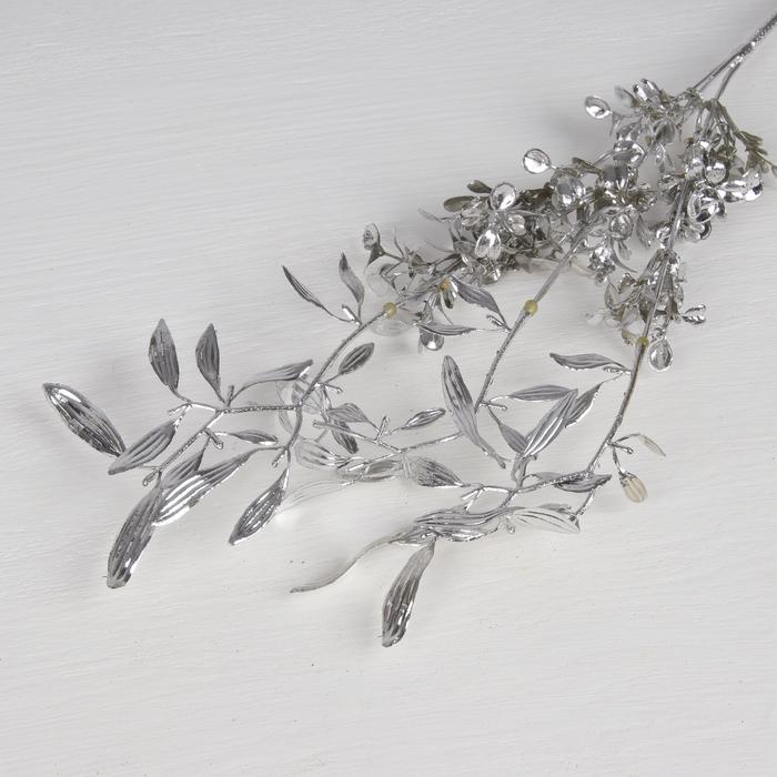 """Цветы искусственные блеск """"Цветущая ветвь"""" 30 см, серебро"""