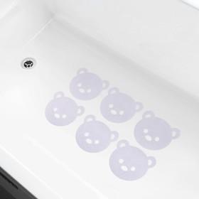 Противоскользящие наклейки для ванны «Мишка», набор 6 шт.