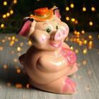 """Копилка """"Свинка с цветком"""" персиковый глянец   микс"""