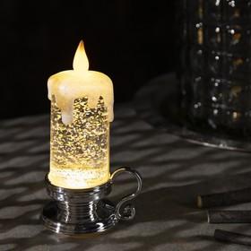 "Фигура световая ""Свеча серебряная"", 15х7х7 см, от батареек 3xLR44, пламя моргает, RGB"
