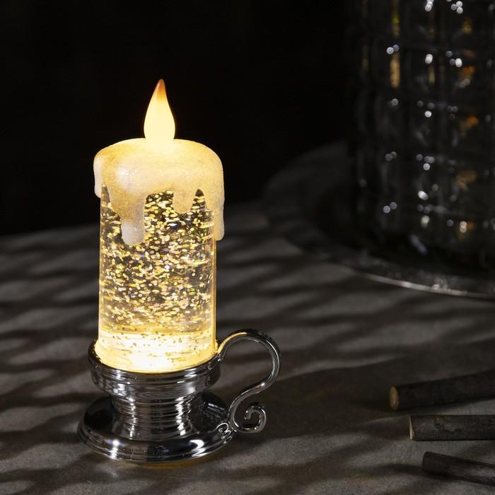 "Фигура световая ""Свеча серебряная"", 15х7х7 см, от батареек 3xLR44, пламя моргает, RGB - фото 1384452"