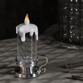 "Фигура световая ""Свеча серебряная"", 15х7х7 см, от батареек 3xLR44, пламя моргает, RGB - фото 1384453"