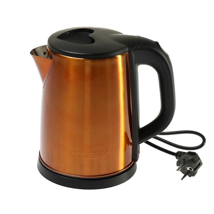 Чайник электрический GELBERK GL-322, 1500 Вт, 2 л, металл, желтый