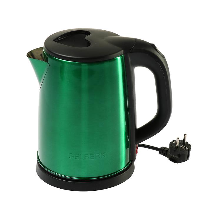 Чайник электрический GELBERK GL-323, 1500 Вт, 2 л, металл, зеленый