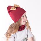 Набор шапка/снуд с бантом из пайеток, бордо, р-р 54/58 см