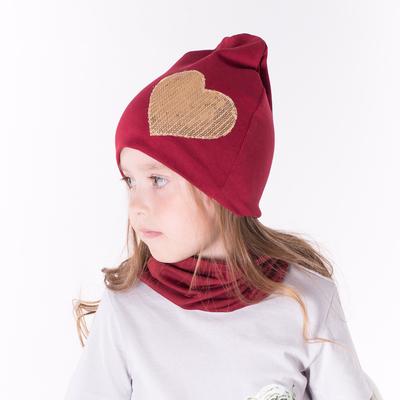 Набор шапка/снуд с сердцем из пайеток, бордо, р-р 54/58 см