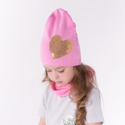 Набор шапка/снуд с сердцем из пайеток, розовый, р-р 50/54 см