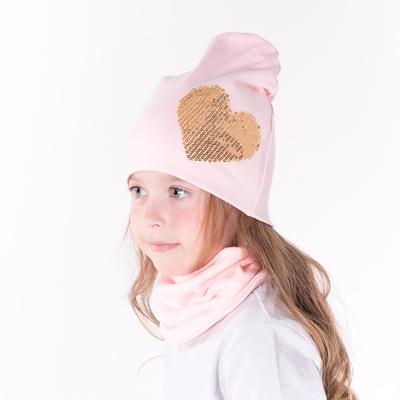 Набор шапка/снуд с сердцем из пайеток, св.розовый, р-р 50/54 см