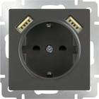 Розетка с заземлением, шторками и USBх2  WL07-SKGS-USBx2-IP20, цвет серо-коричневый