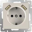 Розетка с заземлением, шторками и USBх2  WL03-SKGS-USBx2-IP20, цвет слоновая кость