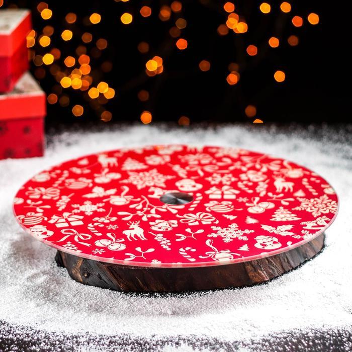 """Подставка для торта вращающаяся 32 см """"Новый год"""""""