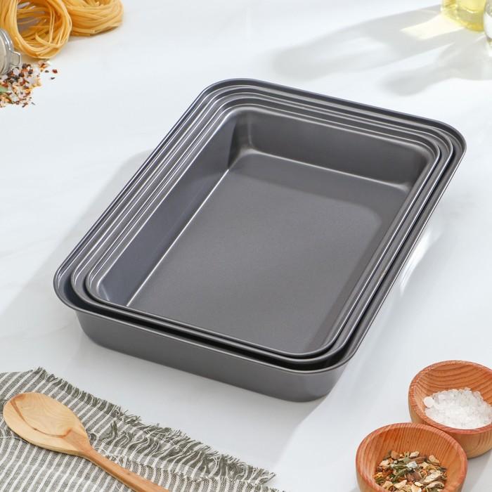 "A set of trays with a/C coating ""Jacqueline"" 3 PCs 35х24/30x20/33х22 cm"