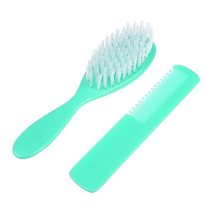 Расчёска детская + массажная щётка для волос «Жирафик», от 0 мес.