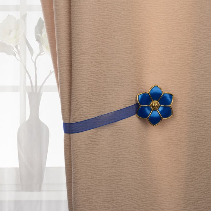 Подхват для штор «Цветок», d = 6 см, цвет голубой/золотой