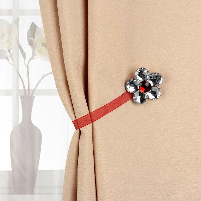 Подхват для штор «Цветок ромашка», d = 6 см, цвет бордовый