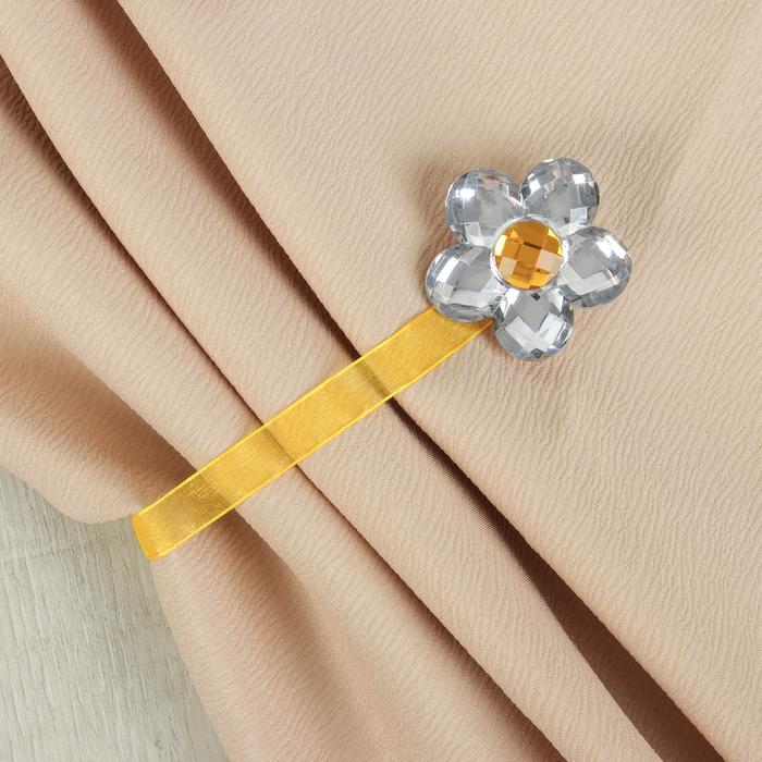 Подхват для штор «Цветок ромашка», d = 6 см, цвет жёлтый