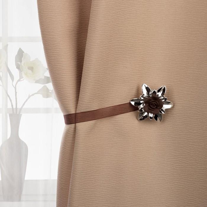 Подхват для штор «Цветок роза», d = 6 см, цвет «кофейный»