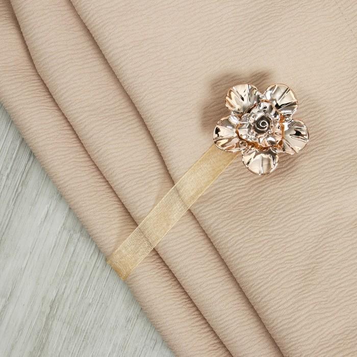 Подхват для штор «Цветок с розой», d = 6 см, цвет золотой/бежевый