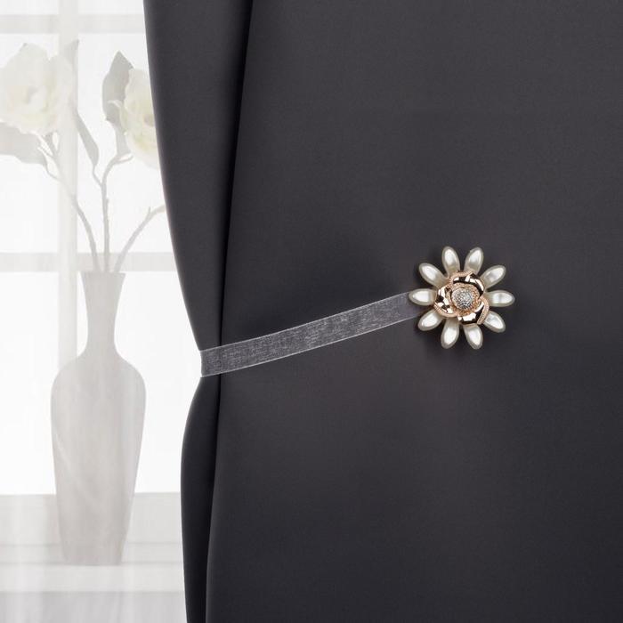 Подхват для штор «Цветок ромашка», d = 6 см, цвет золотой/кремовый