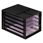 Файл-кабинет 4-секционный СТАММ, черный корпус, тонированные серые лотки