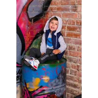 Жилет для мальчика с трикотажным капюшоном, синий, рост 104-110 (26)