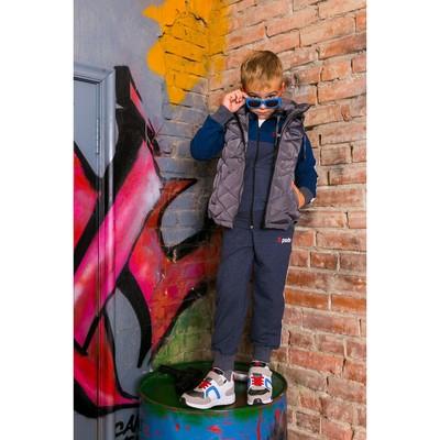Жилет для мальчика с капюшоном Sport, мокр.асфальт, рост 122-128 (32)