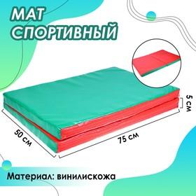 Мат 100 x 75 x 5 см, 1 сложение, винилискожа, цвет красный/зелёный