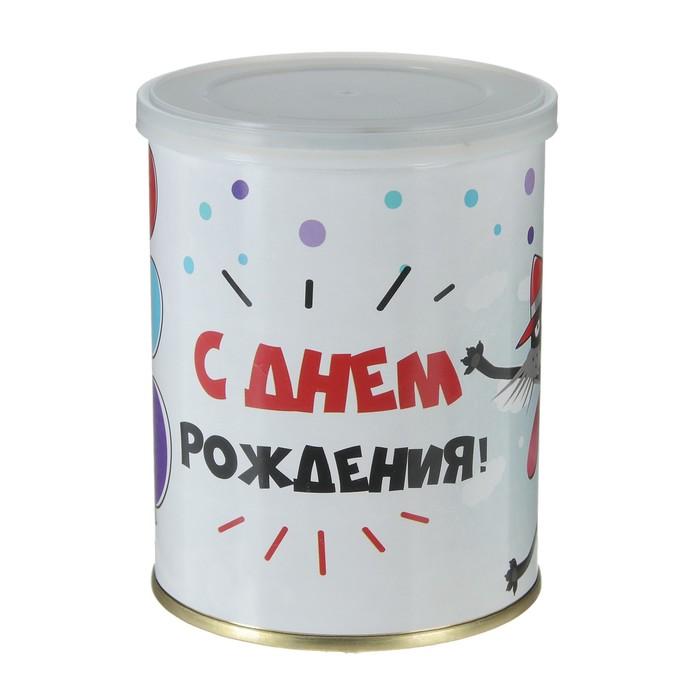 """Носки в банке """"С Днем рождения! (кот)"""" (мужские, цвет черный)"""