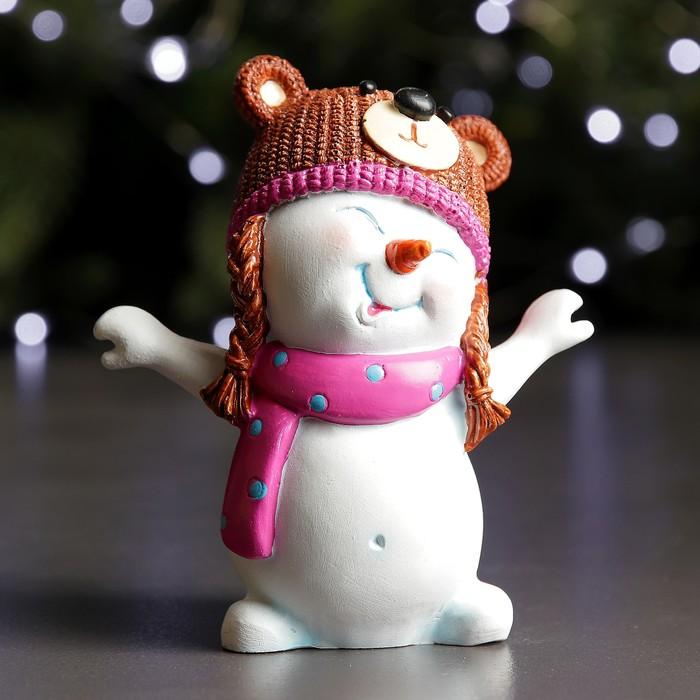 "Фигура ""Снеговик - медвежонок"" 7х11х12см"