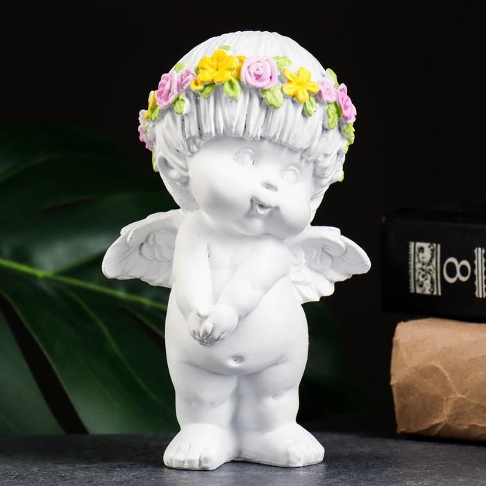 """Фигура """"Ангел стесняшка"""" белый 8х9х14см"""