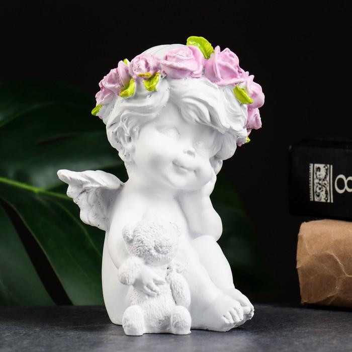 "Фигура ""Ангелочек с медведем"" белый 9х9х13см"