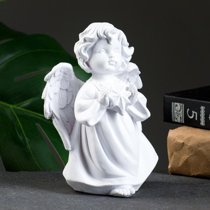 """Фигура """"Ангелочек со звездочкой"""" белый 11х8х15см"""