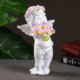 "Фигура ""Ангел с розами"", 13х9х22см"