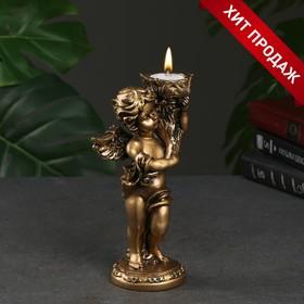 """Подсвечник """"Ангелочек"""" в левой руке, золото 14х8х22см"""