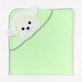 Полотенце-уголок махровое с капюшоном, цвет зелёный, 80х80 см, хлопок, 400 г/м2
