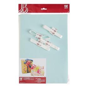 Набор для упаковки, светло-голубой, крафт 0,7 х 1 м х 2, лента 15 мм х 3 м х 4