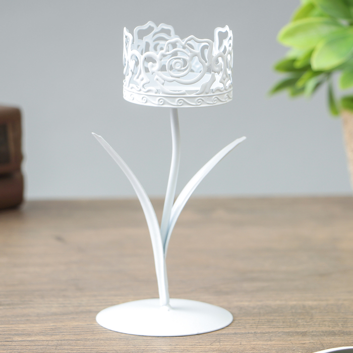 Подсвечник металл на 1 свечу ''Розарий'' белый 14,5х6,5х6,5 см   3714149