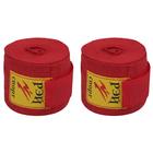 Бинты спортивные боксерские 2 шт. петля+липучка хлопок 2,5 м, цвет красный