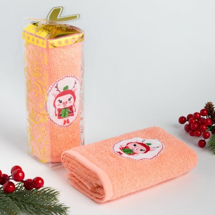 """Полотенце махровое с вышивкой """"Подарочек"""" 30х60см, 340 г/м2, 100% хлопок"""