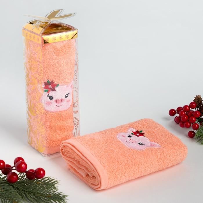 """Полотенце махровое с вышивкой """"Свинка"""" 30х60см, 340 г/м2, 100% хлопок"""