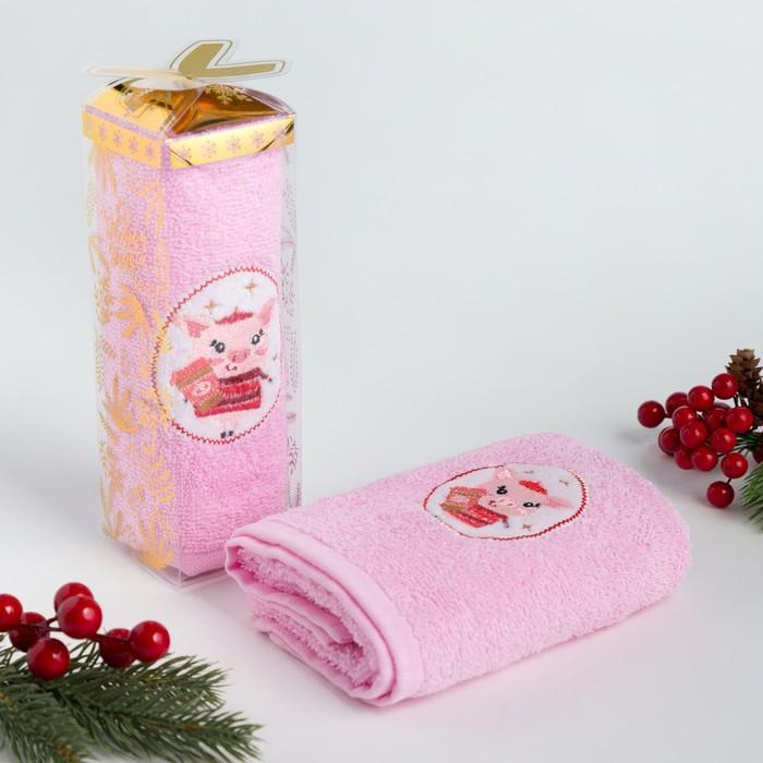 """Полотенце махровое с вышивкой """"Символ года"""" 30х60см, 340 г/м2, 100% хлопок"""