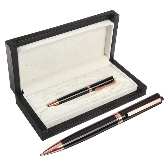 Ручка подарочная, шариковая, в кожзам футляре, повротная, «Президент», корпус чёрно-золотистый - фото 369524893