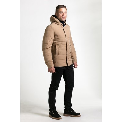 Куртка мужская утеплённая с капюшоном, р.46, цв.бежевый