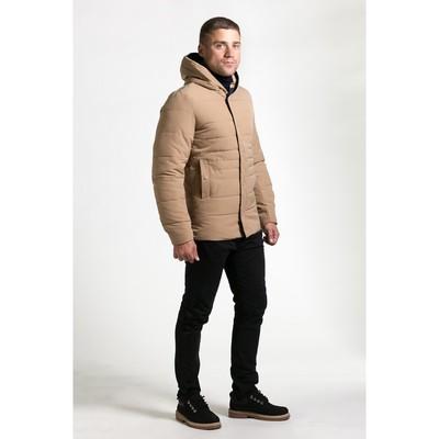 Куртка мужская утеплённая с капюшоном, р.48, цв.бежевый
