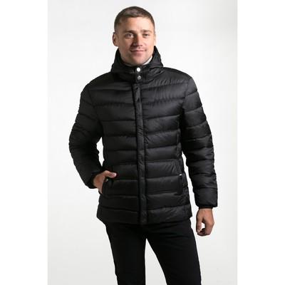 Куртка мужская утеплённая с капюшоном крупная полоса, р.48, цв.чёрный