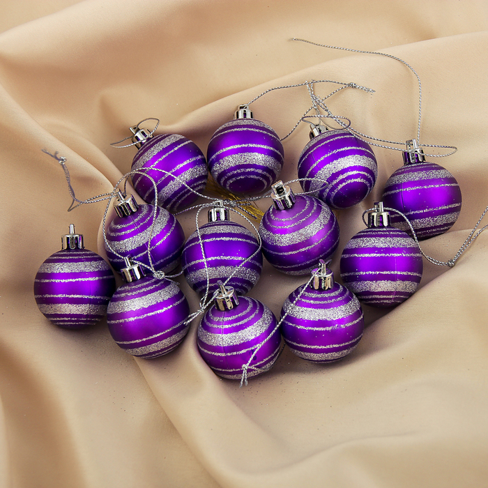 """Набор шаров пластик d-4 см 12 шт """"Полоска"""" фиолетовый"""