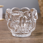 "Glass candle holder for 1 candle, ""Three petal"" transparent 6x7,5x7,5 cm"
