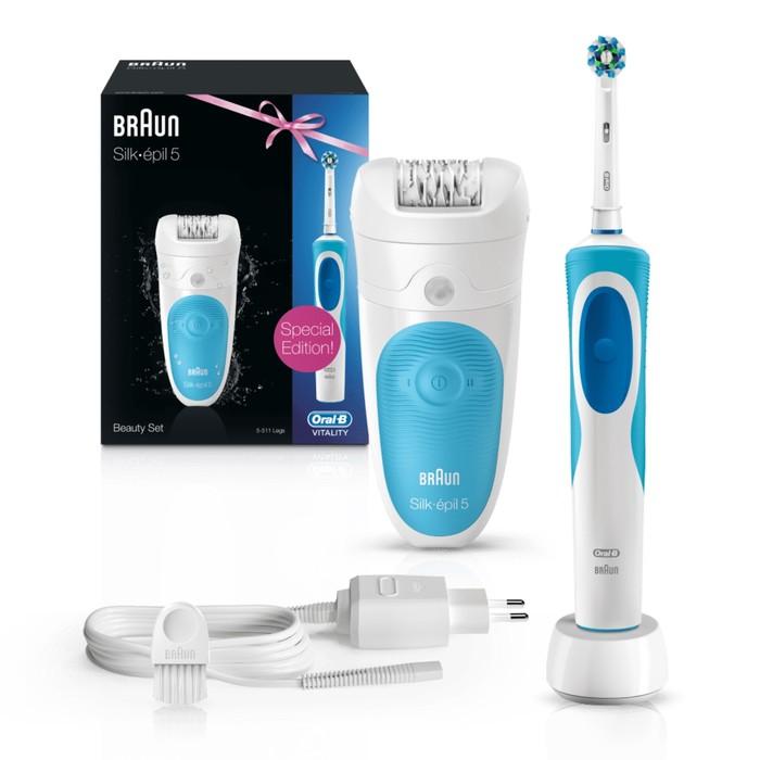 Набор эпилятор Braun 511 и электрическая зубная щётка Oral-B D12.513 Vitality Cross Action