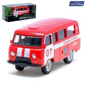 Машина металлическая «Микроавтобус пожарная служба», инерционная, масштаб 1:43