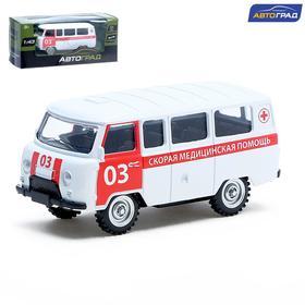 Машина металлическая «Микроавтобус скорая помощь», инерционная, масштаб 1:43